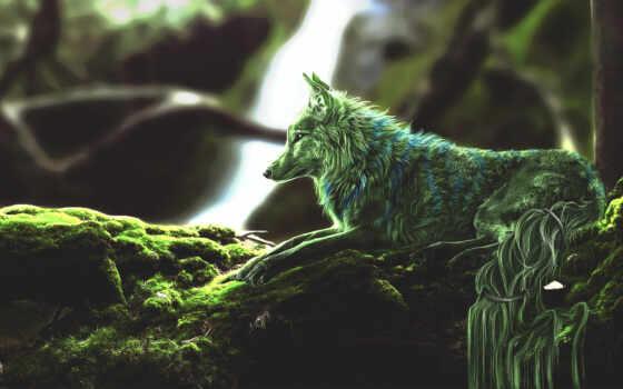 волк, зелёный, лес, fantastic, плакат, металл