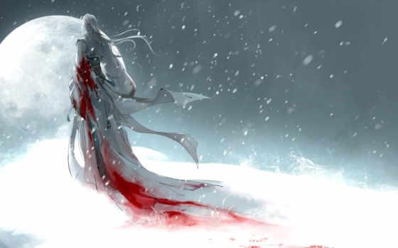 девушка, луна, art, снег, кровь, heise,