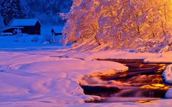 winter, природа, свет, вечер, река, ночь, снег, поток,