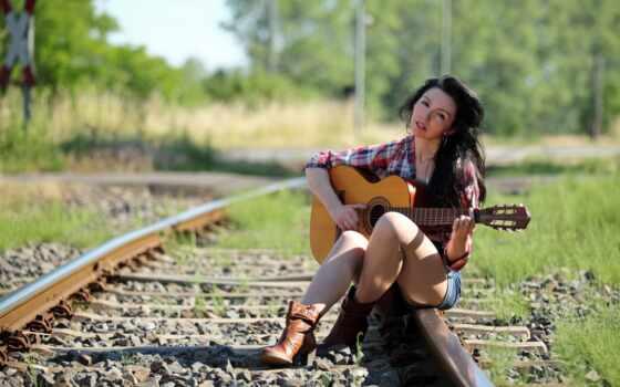 девушка, гитарой, гитара, настроение, дороги, desktop, flickriver,