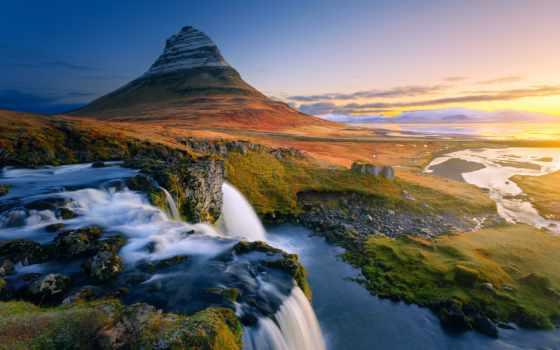 гора, kirkjufell, iceland, ди, semenajung, snaefellness, keindahan, widescreen, pesona, waterfalls,