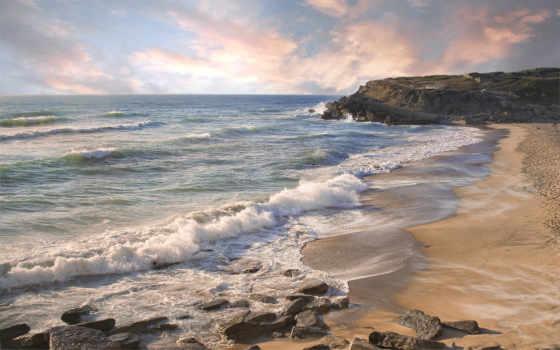 waves, море, берег, берегу, пляж, прибоя, касаются, песка, ocean, скалы,