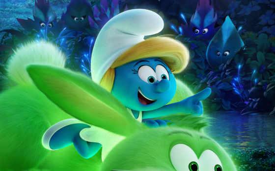 смурфики, smurfs, затерянная, деревня, плакат, lost, смурфетта, фильма, cartoon,