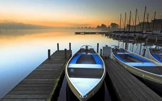 лодка, озеро, утро, природа, причала, причал, water, рассвет, река, яхты,