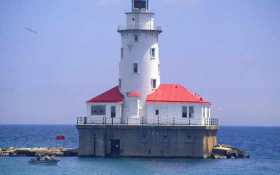 маяк, города, resimleri, море, deniz, fenerleri, гавани, чикагской, manzara, маяки,