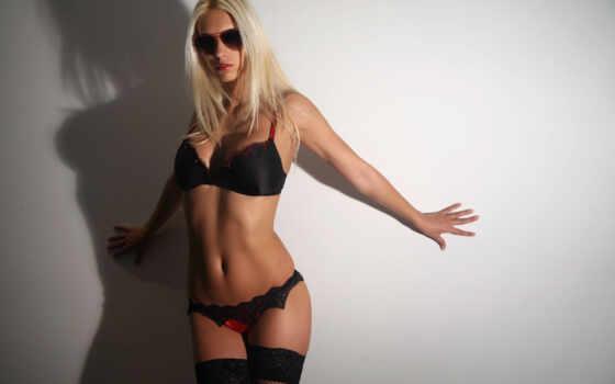 девушка, блондинка, очки