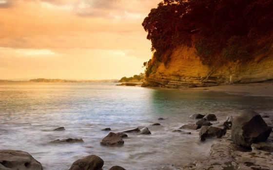 закат, пляж, новая, zealand, auckland, seascape, water, небо, new,