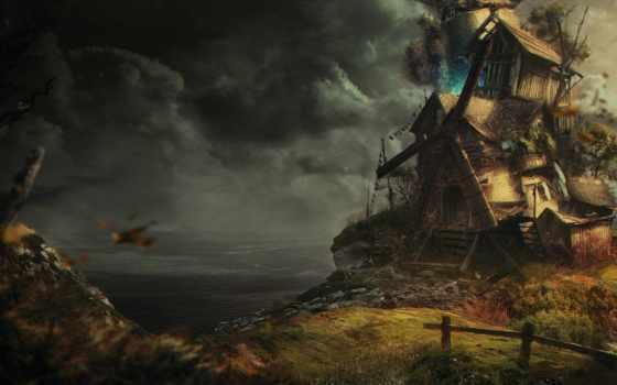 art, house, deviantart, листья, буря, clouds, свечение, море,