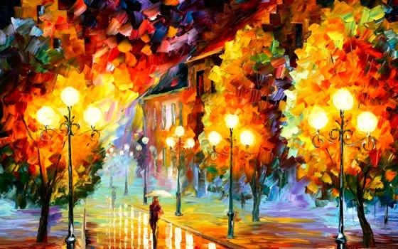 осень, золотая, рисованные, красивые, твоего, ярких, красочных, обоях, осенние,
