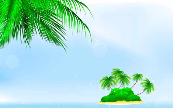 остров, красивые, palm, заставки, trees, кусты, только, goodfon, çalılar,