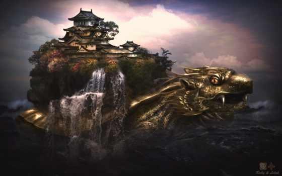 дракон, castle, красивые, widescreen, меню, world, микс, stel,