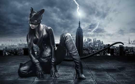 кот, женщина, девушка, масть, город, catwoman, batman, маска, ночь, плакат,