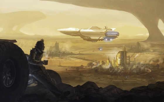 арт, кофе, город, песок, транспорт, пустыня, мужчина, корабль,