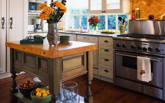 посуда, кухня, интерьер, стиль, плита, кухни, цветы,