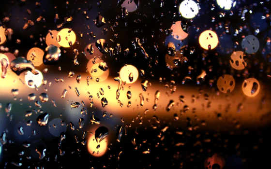 дождь, огни, ночь, капли, боке, glass,