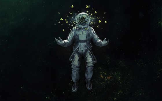 космонавт, бабочки, бабочка