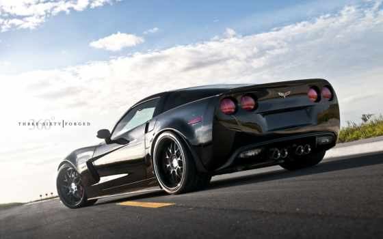 corvette, forged, black, шикарные, облака, car, chevrolet, небо, часть, метки, три, просмотров, шестьдесят,