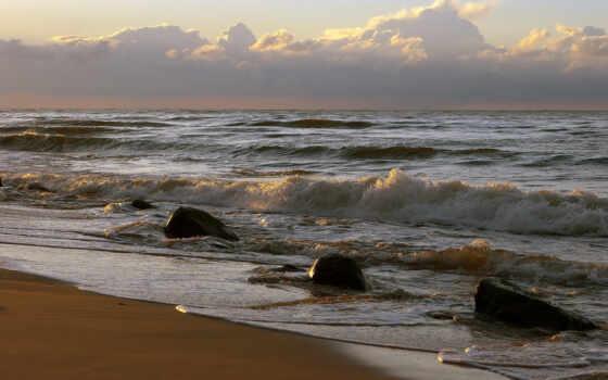 скалы, волны, небо