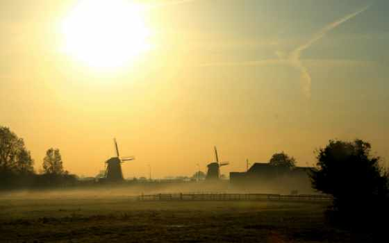 landscape, утро, дек, туман, небо,