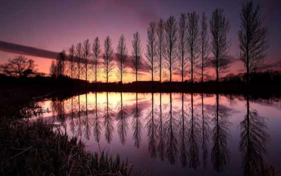 отражение, trees, озеро, великобритания, закат, oblaka, деревьев, range, небо, оптом, вечер,