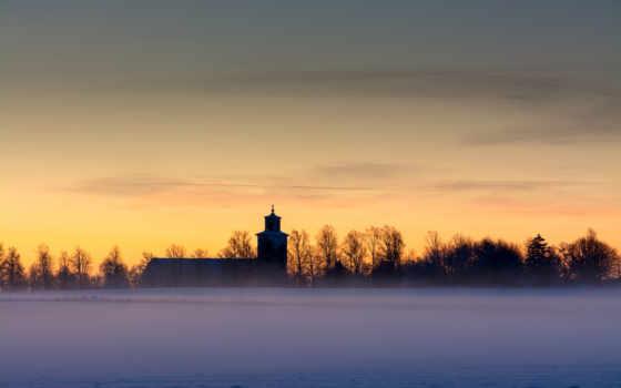 небо, yellow, шпалери, снег, туман, компьютер, church,