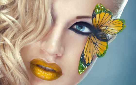 макияж, бабочка, лицо, макияжа, blonde, красивое, взгляд, ресницы, волосы,