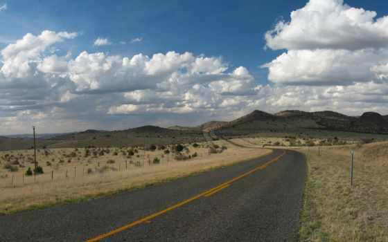 небо, холмы, панорама, oblaka, дорога, скалы, route, горы, горизонт, prairie, трава,