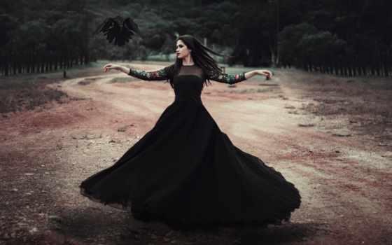 девушка, платье, черном, картинка, news,