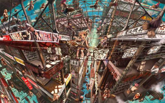 anime, город, картинка, мегаполис, air, fantasy, oblaka,