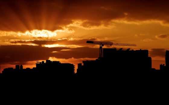 закат, город, oblaka, небо, miami, здания, огни,