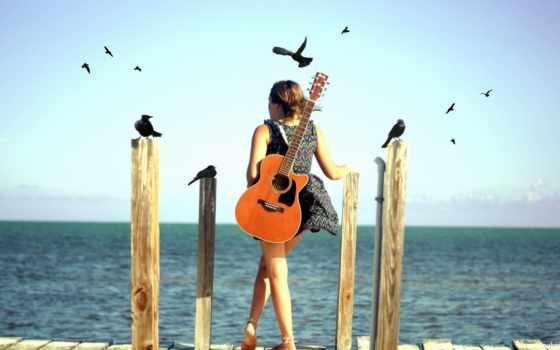 девушка, гитара, настроение, птицы, море,