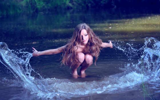 брызги, девушка, water