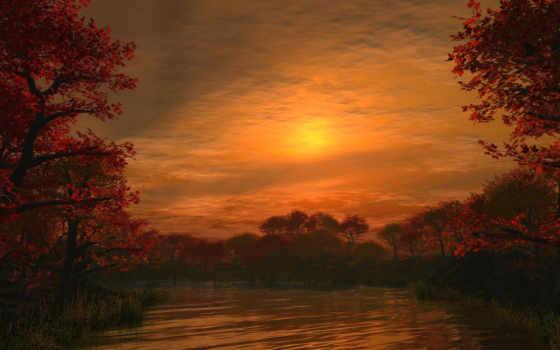 закат, со, озеро
