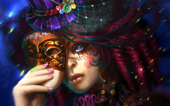 девушка, маске, маска, категории, маской, шляпа, волосы, art, everything,
