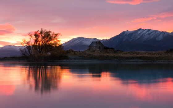 новая, new, zealand, озеро, джин, chris, горы, rising, новой, зеландии,