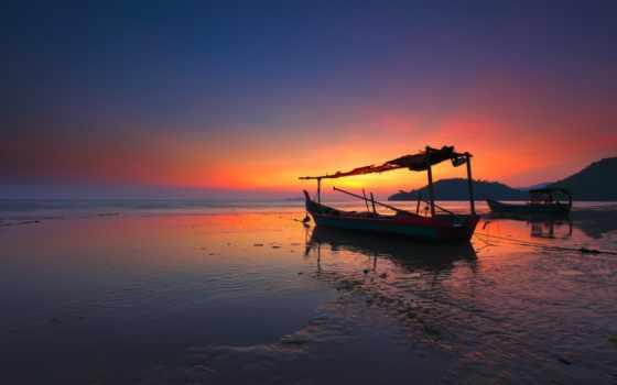 fondos, pantalla, ocean, tapetes, лодка, landscape, рассвет,