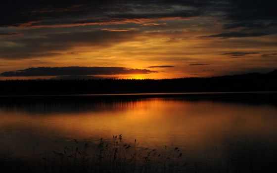озеро, закат, trees, лес, slike, природа, gambar, пляж, bar,