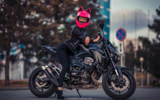 мотоцикл, шлем, девушка, трек, server, розовый, дорогой, sit, город