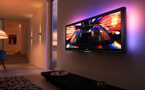 телевизор, стену, телевизора