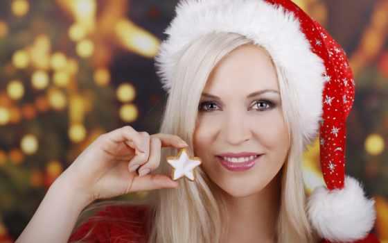 год, new, девушка, улыбка, снегурочки, смотреть, шатенка, праздник,