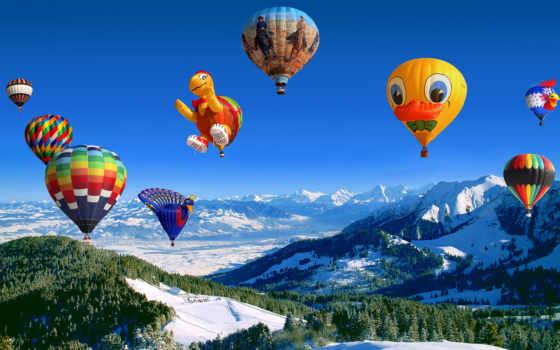 шары, воздушные, небо, горы, картинка, полет,