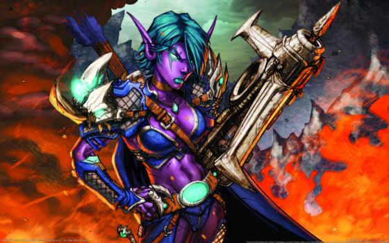 эльф, hunter, world, warcraft, кровь, card, ночь, shaii, tcg, trading, online,