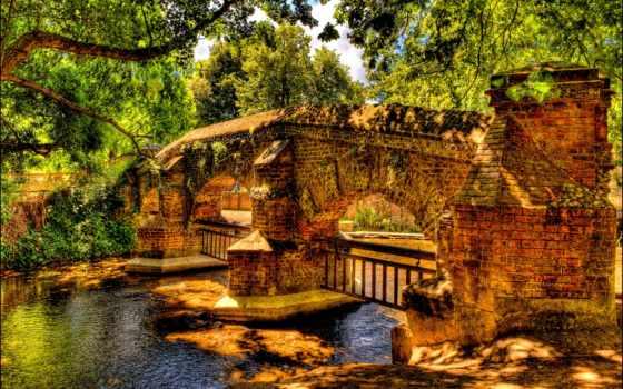 мост, река, камень, со, desktop, под, id,