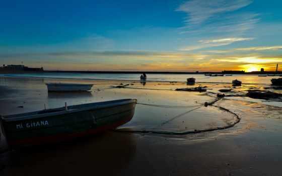 пляж, природа, лодка, beached, закат, категория,