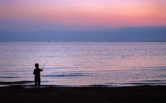 fish, rod, surf, ft, piece, foot, ребенок, силуэт, закат