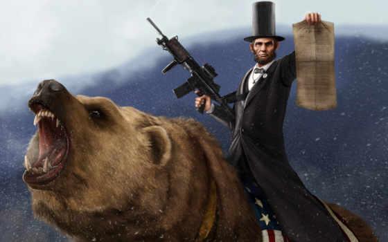авраам, линкольн, автомат, снег, медведь, прокламация,