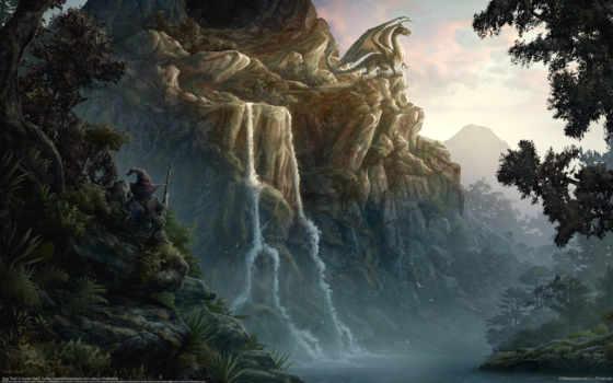 дракон, горы, фентези, beyit, kerem, fantasy, картинка,