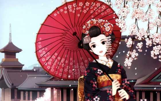 гейша, девушка, art, кимоно, зонтик, nardack, Сакура,