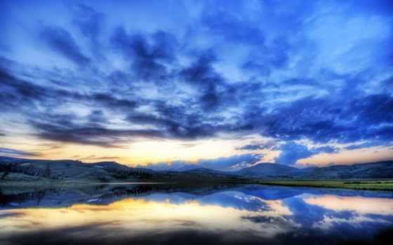 горы, пейзаж, небо, ozero, туман, панорама, oblaka,