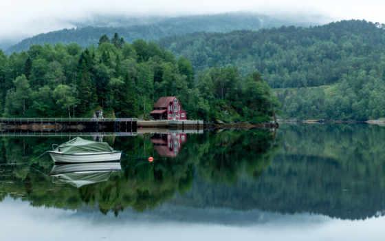 озеро, лес, деревя